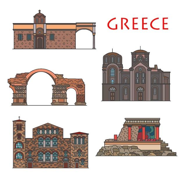 그리스 건축, 테살로니키와 크레타의 고대 그리스 건물, 벡터 랜드마크. hagios demetrios 및 panagia chalkeon 교회, 황제 galerius 아치, vlatadon 수도원 및 cnossos 궁전