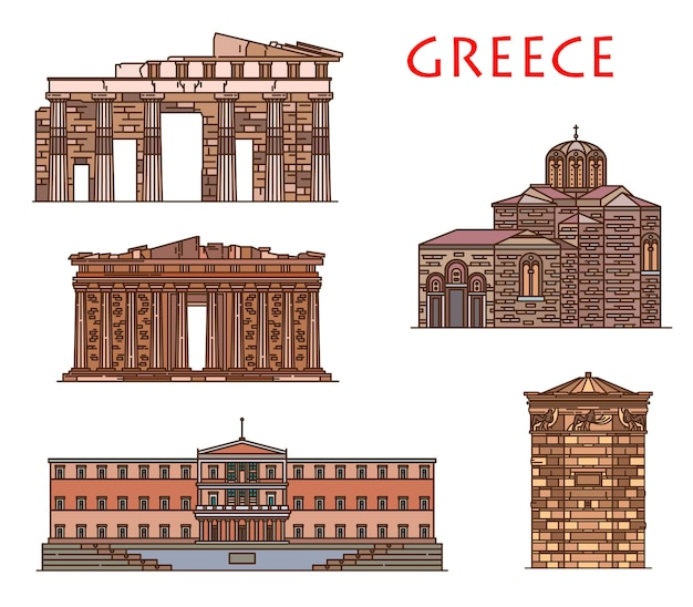 Greece architecture and athens buildings, vector greek travel landmarks. greece antique parthenon, parliament house of athens, saint nicholas church, ancient winds tower and propylaea gates monument