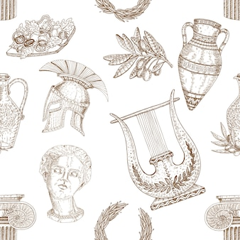 Greece elements seamless pattern