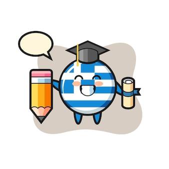 ギリシャの旗バッジイラスト漫画は巨大な鉛筆、tシャツ、ステッカー、ロゴ要素のかわいいスタイルのデザインで卒業です