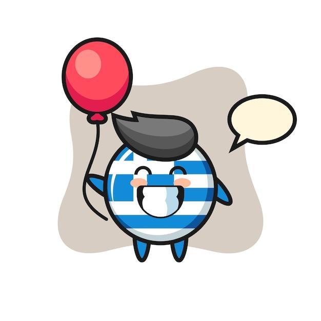 Иллюстрация талисмана значка флага греции играет на воздушном шаре, милый стиль дизайна для футболки, наклейки, элемента логотипа