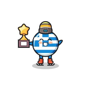 アイススケート選手としてギリシャの旗の漫画は、優勝トロフィー、tシャツ、ステッカー、ロゴ要素のかわいいスタイルのデザインを保持します