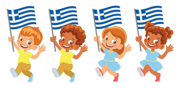 Флаг греции в руке. дети держат флаг. государственный флаг греции