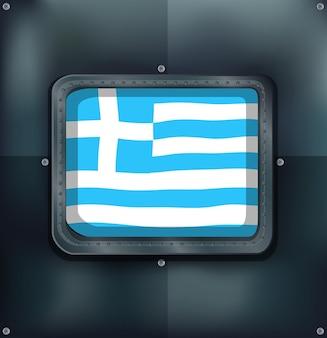 Greece flag on metal wall