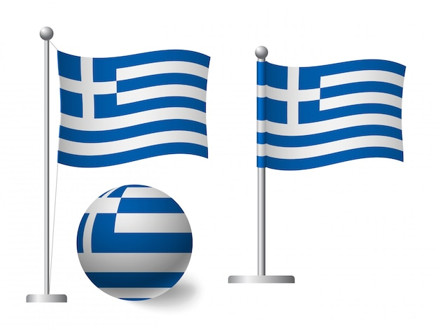 Greece flag on pole and ball icon