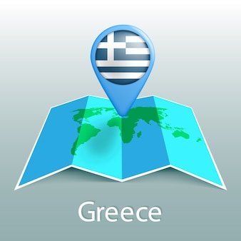 Greece flag world map in pin with name of country on gray background