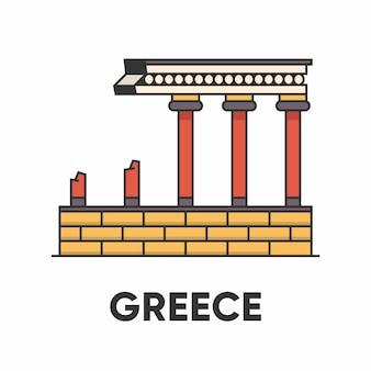 Греция, кносский дворец, лабиринт царя миноса, контурная иллюстрация