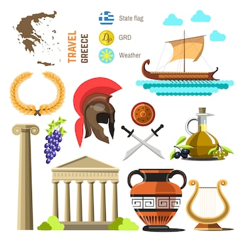 Greece landmark flat icons design.