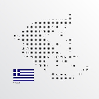 Greece Map design with flag and light background vector