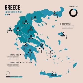 Греция карта инфографики в плоском дизайне