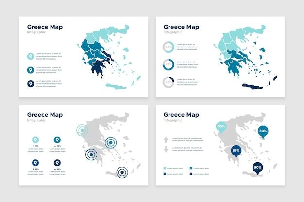 フラットなデザインのギリシャの地図のインフォグラフィック