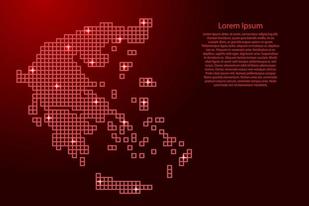 赤いモザイク構造の正方形と輝く星からギリシャの地図のシルエット。ベクトルイラスト。