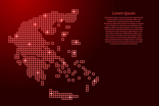Greece map silhouette from red mosaic structure squares and glowing stars. vector illustration.