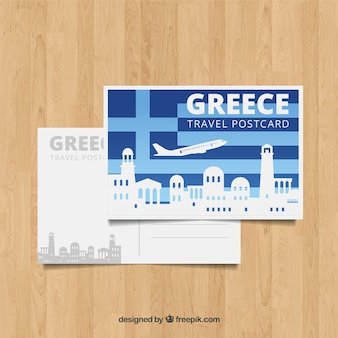 Greece postcard template with flat design