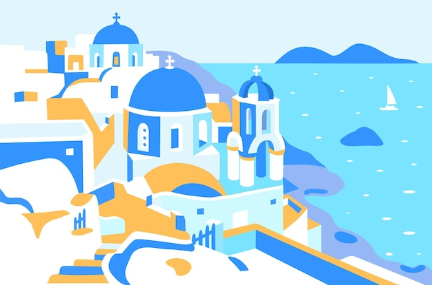 Greece and santorini island beautiful traditional white architecture of greece and the sea