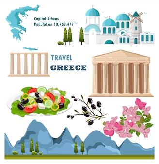 Greece travel landmarks card