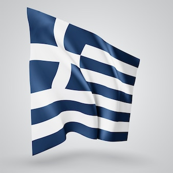 Greece, vector flag with waves and bends waving in the wind on a white background.