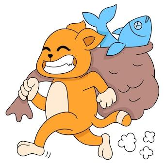 소금에 절인 생선 자루를 들고 있는 욕심 많은 고양이, 벡터 일러스트레이션. 낙서 아이콘 이미지 귀엽다.