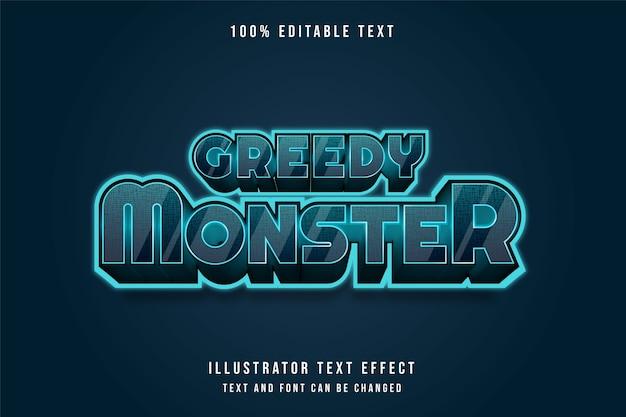 욕심 많은 괴물, 3d 편집 가능한 텍스트 효과 블루 그라데이션 미래 스타일 효과