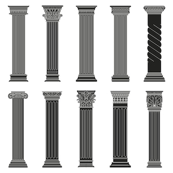 Greek ancient columns. classic roman and greek architectural stone pillars isolated set
