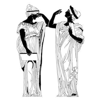 ギリシャの古代女性の手描きイラスト