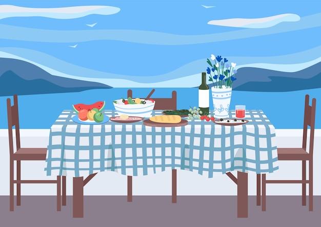ギリシャの宴会フラットカラーイラスト