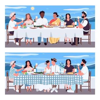 그리스 연회 평면 색상 세트. 테이블에서 결혼식 축 하. 그리스에서 휴가 친구. 배경 컬렉션에 바다와 다민족 2d 만화 캐릭터