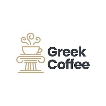 Greek coffee pillar column ionic logo