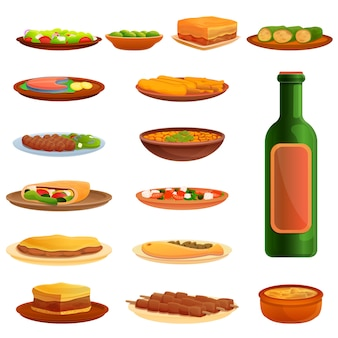 Greek cuisine icons set