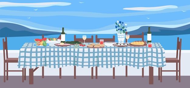 Греческий ужин плоские цветные рисунки. стол с национальной кухней. традиционная кулинария греции для отдыха и уединения. праздничная мебель 2d мультяшный объект с морским пейзажем на фоне
