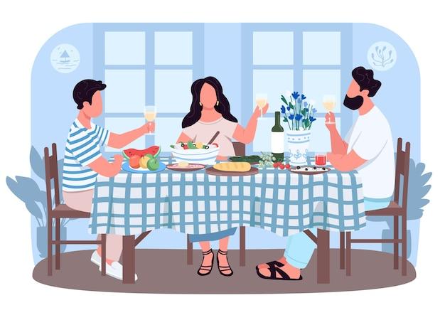 友人のためのギリシャディナー2dウェブバナー、ポスター。飲み物を持ってテーブルの周りの人々。漫画の背景に家族のフラットなキャラクター。ギリシャの伝統的なランチ印刷可能なパッチ、カラフルなウェブ要素