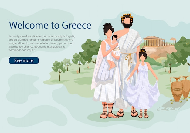 Greek family on background sights of greece landing page