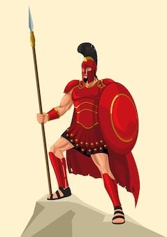 ギリシャの神と女神のベクトルイラストシリーズ、アレスは、ギリシャの戦争の神です。彼は12人のオリンピック選手の1人であり、ゼウスとヘラの息子です。