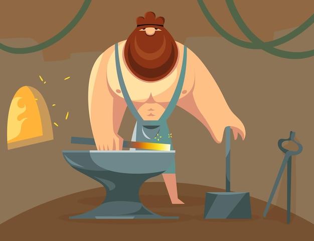 ギリシャの神ヘファイストスが金床で鉄を鍛造