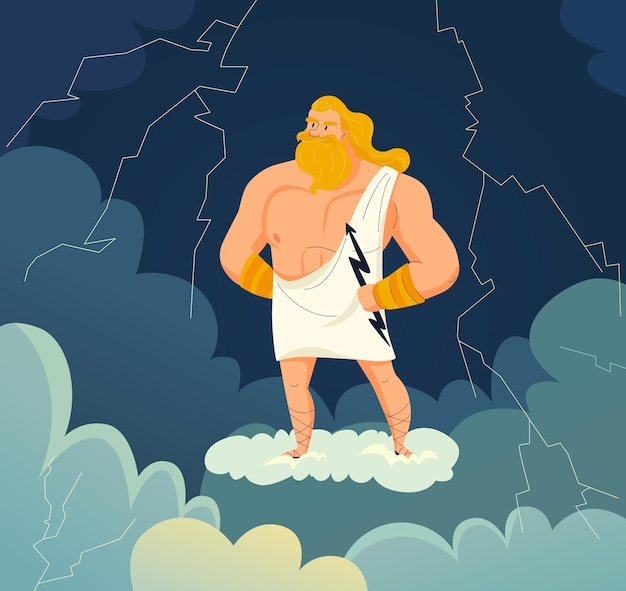 Греческий бог неба и грома зевс держит мультяшную молнию