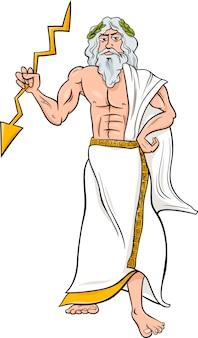 Greek god zeus cartoon illustration