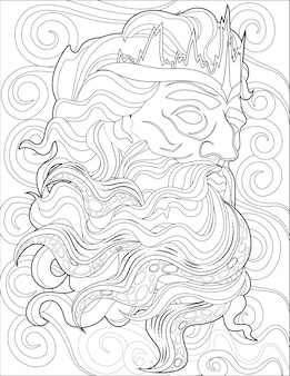 Greek god zeus head line drawing surrounded by strong winds watching beautiful view. archetype of the sky face drawing enclosed with just looking for sight