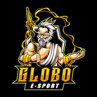 Greek god zeus mascot logo for esports and sports team