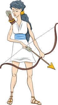 Greek goddess artemis cartoon
