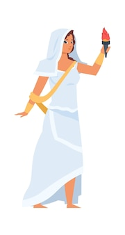 Greek goddess hestia. vector illustration vesta character with torch in hand. beautiful girl in white clothes