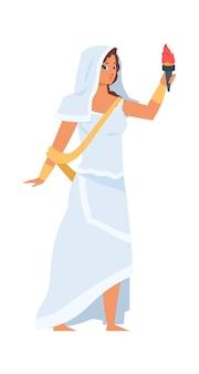 그리스 여신 헤스티아. 벡터 일러스트 레이 션 손에 횃불과 vesta 문자입니다. 흰 옷을 입은 아름다운 소녀
