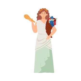 出産するギリシャの女神と収穫デメテルフラットベクトルイラスト分離