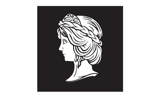 Greek goddess sculpture logo design