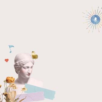 Greek goddess statue border aesthetic mixed media