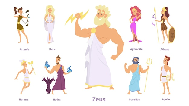 그리스 신. 고대 종교, 그리스 역사. 제우스, 아테나, 포세이돈 캐릭터.