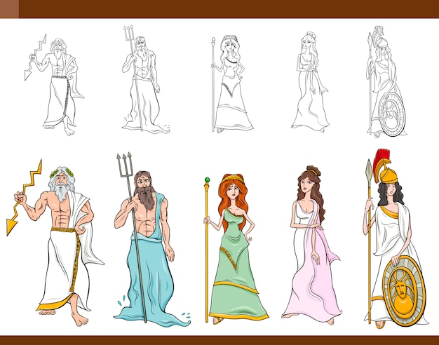 Greek gods cartoon illustration