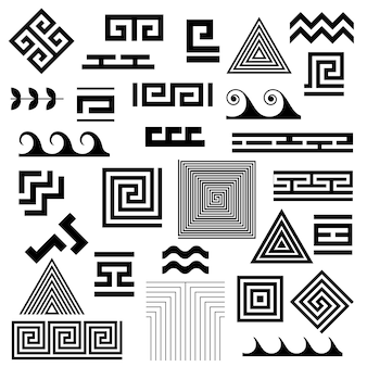Greek key. arabic geometric islamic symbols set.