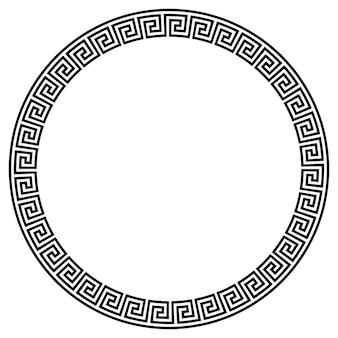 Greek key round frame. greek border. vector