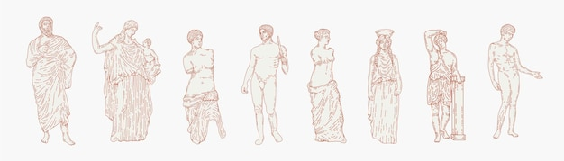 Greek marble statues aesthetic hand drawn illustration set. sculptures of human body and architectural elements. greek gods and mythology, ancient greece graphic design elements.