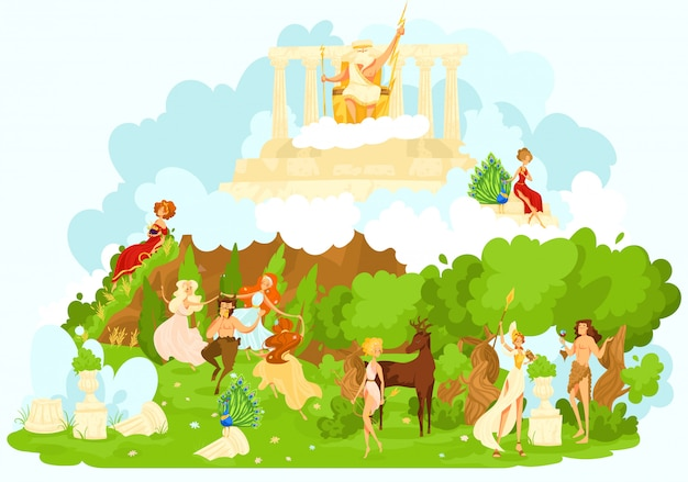Greek mytholgy, ancient gods cartoon figurines of mythological olympic gods symbolizing the favor and protection   illustration.